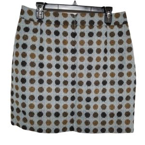 Boden Light Blue with Brown Dots Wool Tweed Skirt